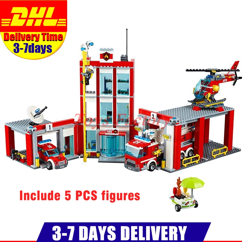 2018 DHL LEPIN 02052 City Series The Fire Station Set 60110 Building Blocks Bricks Educational DIY Toys As Christmas Gift lepin 02054 genuine city series 239pcs the fire ladder truck set 60107 building blocks bricks educational christmas toy as gift
