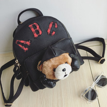Hot Sale 2016 Fashion Cute Bear Backpack Black Letter Printing Pu Backpack Small Travel Backpack Women Shoulder Bag Sac A Dos