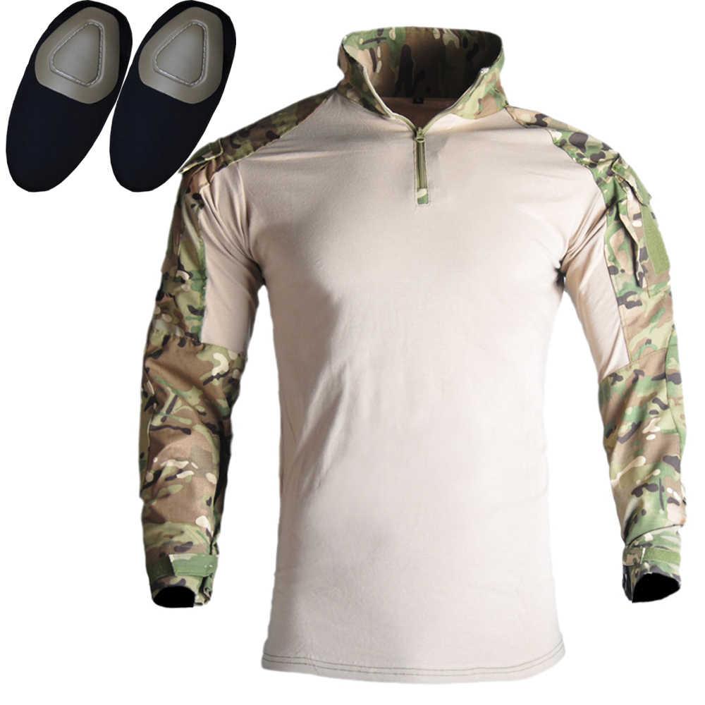 G3 askeri giyim Multicam taktik üniforma kamuflaj Airsoft gömlek + Paintball kargo pantolon + pedleri saldırı ordu militar takım elbise