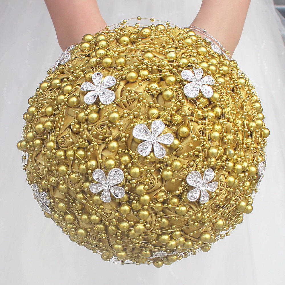 Gold Handmade Pearl Beaded Wedding Bouquet Silk Ribbon Rose Artificial Flowers Bouquet Bridal Bridemaid Wedding Bouquet