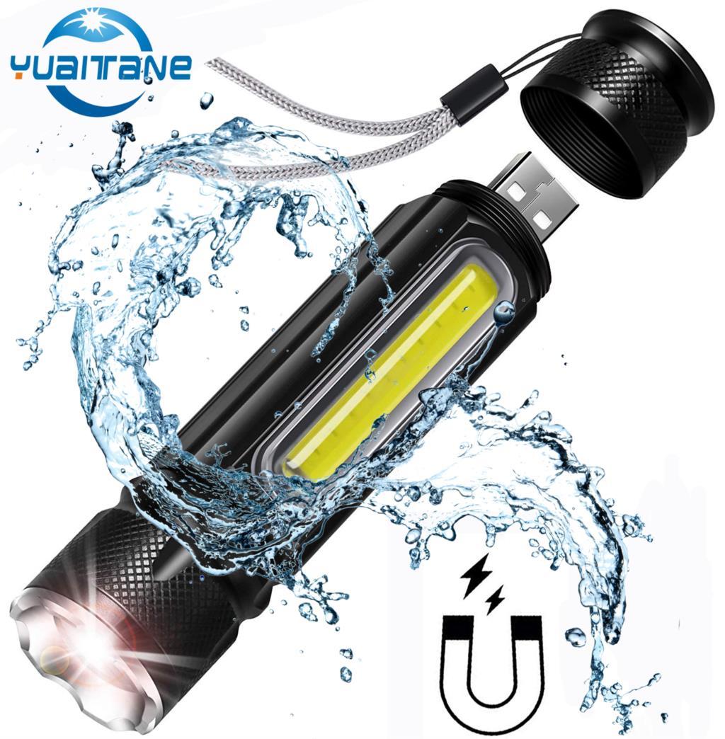 Multifonctionnel lampe de Poche LED USB Rechargeable batterie Puissant T6 torche Côté COB Lumière conception lampe de Poche queue aimant le Lampe de Travail