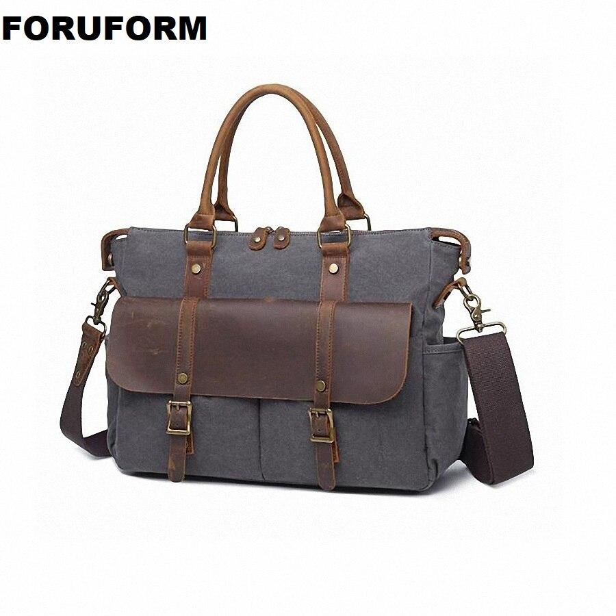 Vintage Leinwand Männer Messenger Bags Handtasche 14 Zoll Laptop Aktentaschen Business Männer Schulter Tasche Gute Crossbody-tasche Männer Li-2253 Knitterfestigkeit