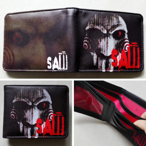 2018 Movie Saw Logo wallets Purse Multi-Color 12cm Leather Man women New Hot Cool W176 2018 games pacman games logo wallets purse multi color leather new hot w199