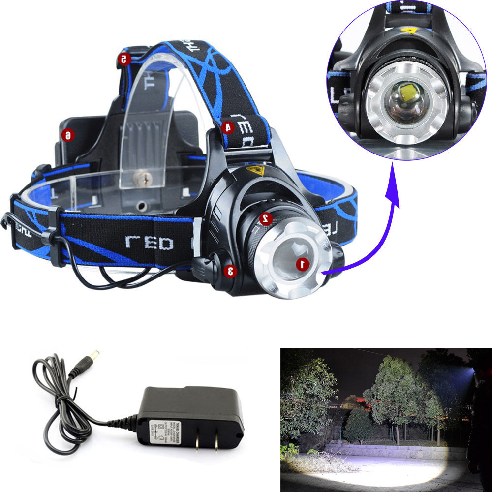 Zoomable 2000 LM XM-L XML T6 LED Headlight Headlamp Senter Head Light Lampu + AC Charger