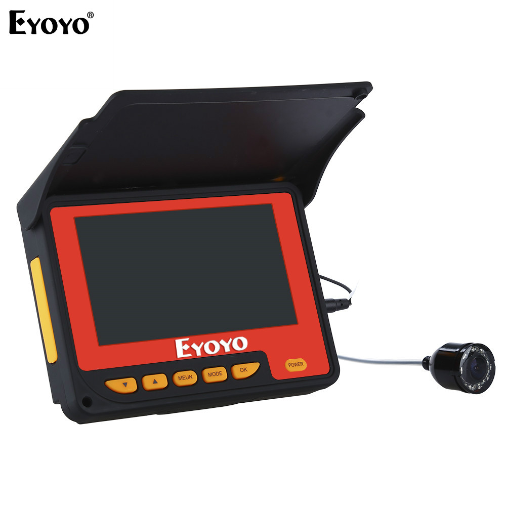 EYOYO F05 4.3 20M Infrared IR 150degree Fishing Camera Fish Finder Video Fishfinder Fixed Underwater Ocean River Lake Boat Ice eyoyo 930m touch screen infrared hd 1000tvl underwater fishing camera fish finder video fishfinder ocean river sea boat fishing