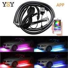 4 шт., автомобильная гибкая светодиодная лента с управлением через приложение, декоративный светодиодный RGB светильник под автомобильным свечением, система неоновых ламп
