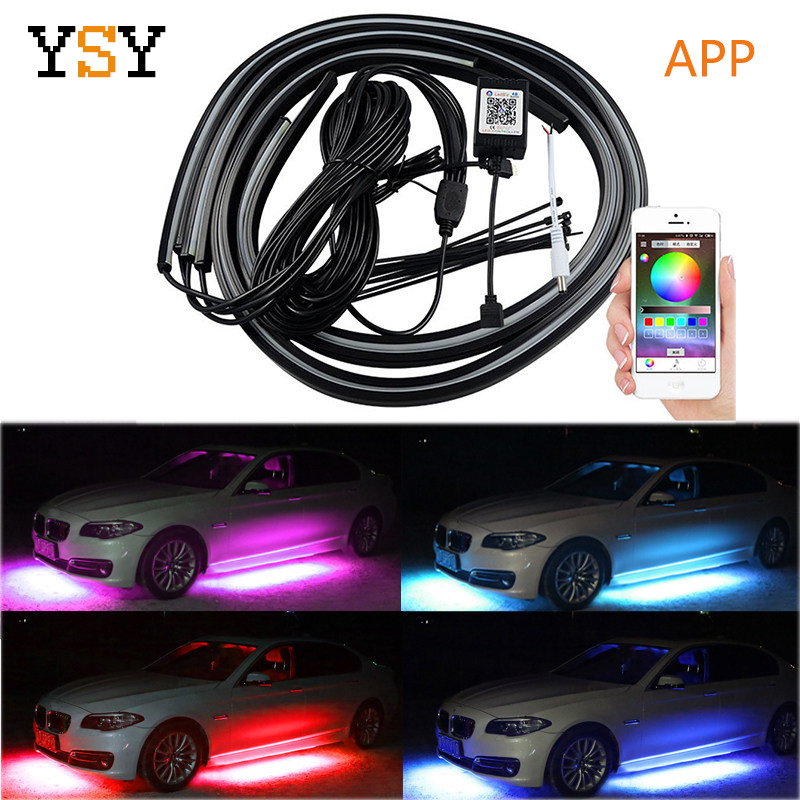 4PCS APP Control <font><b>Car</b></font> Flexible <font><b>LED</b></font> <font><b>Strip</b></font> Decorative Atmosphere <font><b>LED</b></font> <font><b>RGB</b></font> Under <font><b>Car</b></font> Glow Underbody <font><b>Lights</b></font> System Neon <font><b>Lights</b></font> Kit image