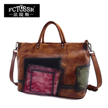 2017 Vintage Handmade Women Handbags Top Handle Cross body Shoulder Bag Big Totes Cow Leather Women Bags Mixed Color