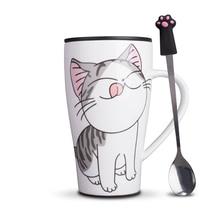 Kreative Cat Keramik Becher Mit PVC staubschutz super Kapazität 500 ml Tassen Kaffee Milch Tee Tassen drink in mode mädchen geschenke