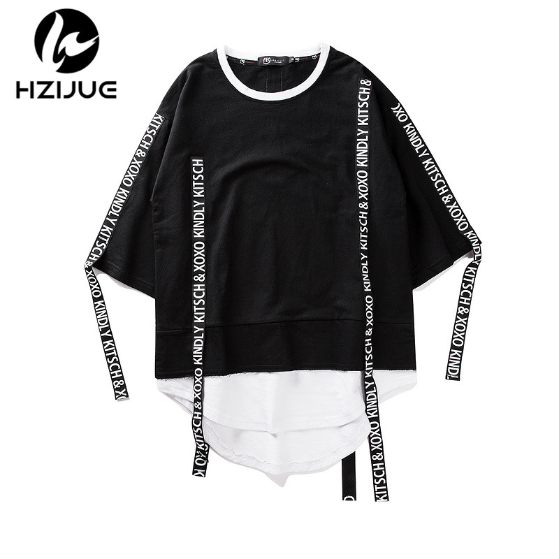 HZIJUE 2018 New Summer Fake Two Pieces Mens Cotton patchwork   T     Shirt   Street Wear Hip Hop Casual Loose Men Tee Brand clothing top