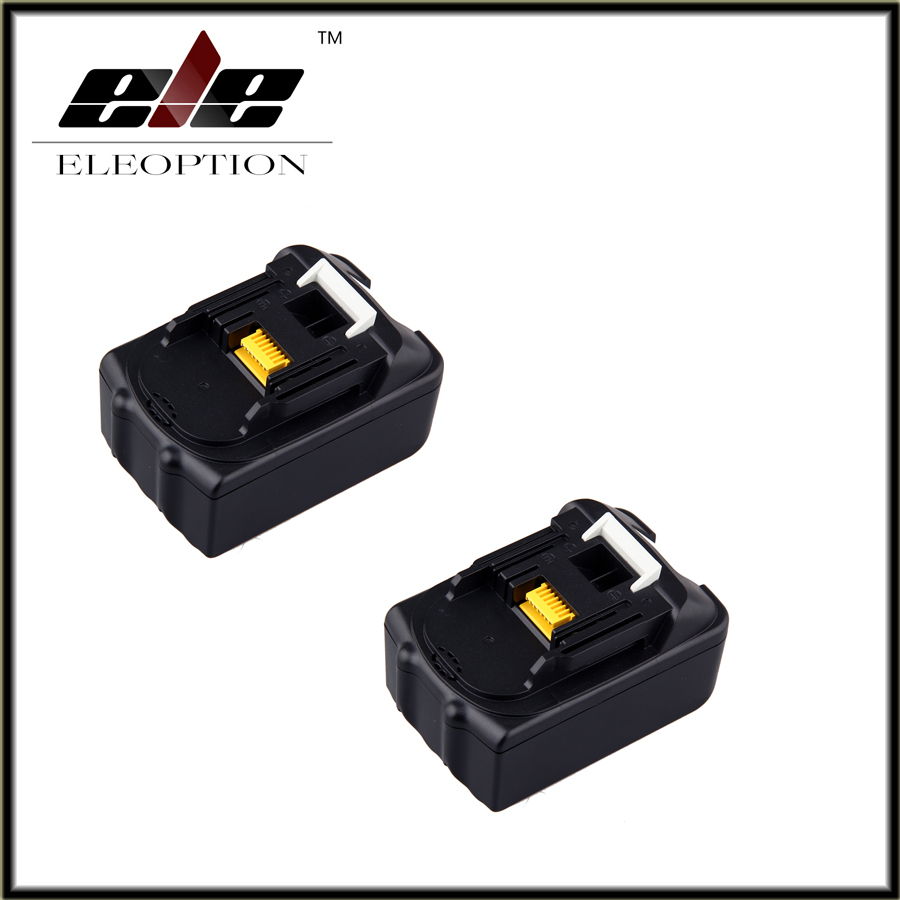2x Eleoption Spare parts Rechargeable batteries for Makita BL1840 LXT Li-ion 4.5 Ah 4500mAh Battery Power Tool spares 7 ip camera cctv tester poe wifi dm optical power meter visual fault locator tdr sdi ipc 8600movts