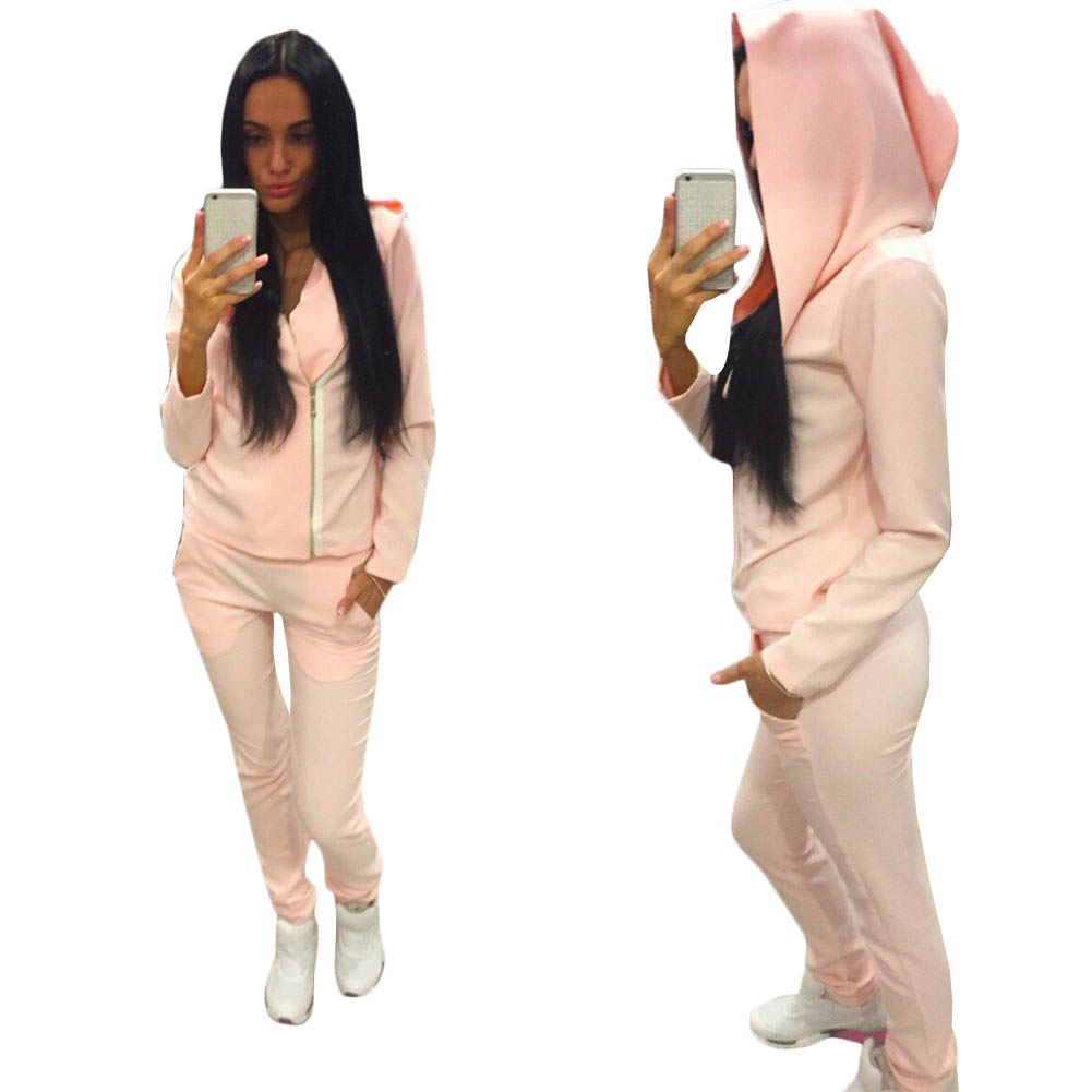 Hot Sale Women Sweatshirt+Pant Suit 2 Piece Set Suit For Women Autumn Pink Suit Sets ...