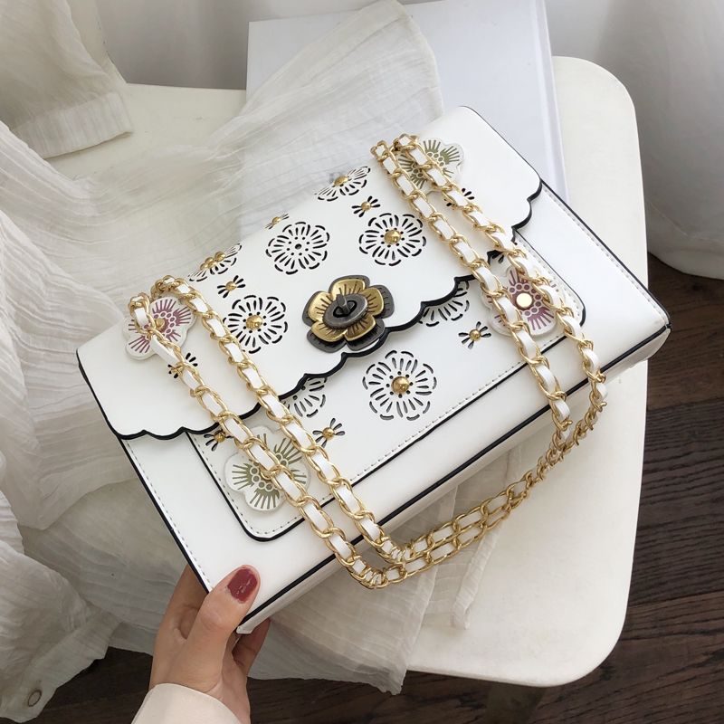 Hollow Flower Flap Square Bag 2019 Fashion New High Quality Leather Women's Designer Handbag Lock Chain Shoulder Messenger Bags