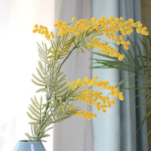 FANTASY Quality Yellow Mimosa Artificial Plant Bouquet Fake Thorn Ball Flower for Wedding Wreath Home Indoor Arrangement