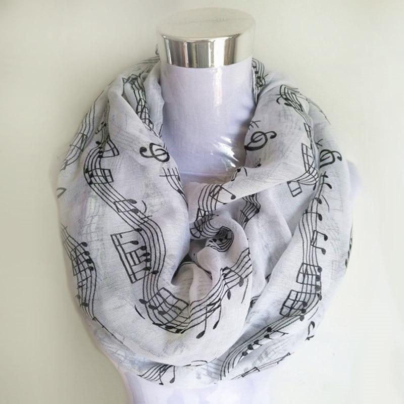 Navy bule Musical Notes vinter Infinity Scarf Kvinnor musik sjalar och halsdukar foulard bufandas mujer 2018 echarpes foulards femme