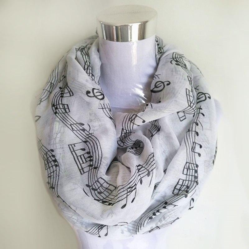 Navy bule Musical Notes vinter Infinity Scarf Kvinnor musik sjalar - Kläder tillbehör