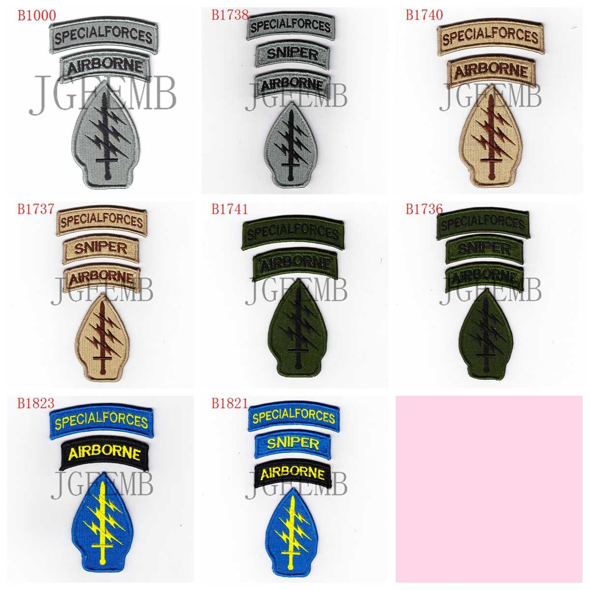 8327f97459a Special Force airborne Lightning and sword Morale tactics Military Full  Embroidery patch