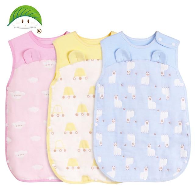 Mùa xuân hè sleepsacks đặn vải gạc túi ngủ từ cổ đến đầu gối 3 màu sắc 100% cotton mềm mại và airpermeability 14-194