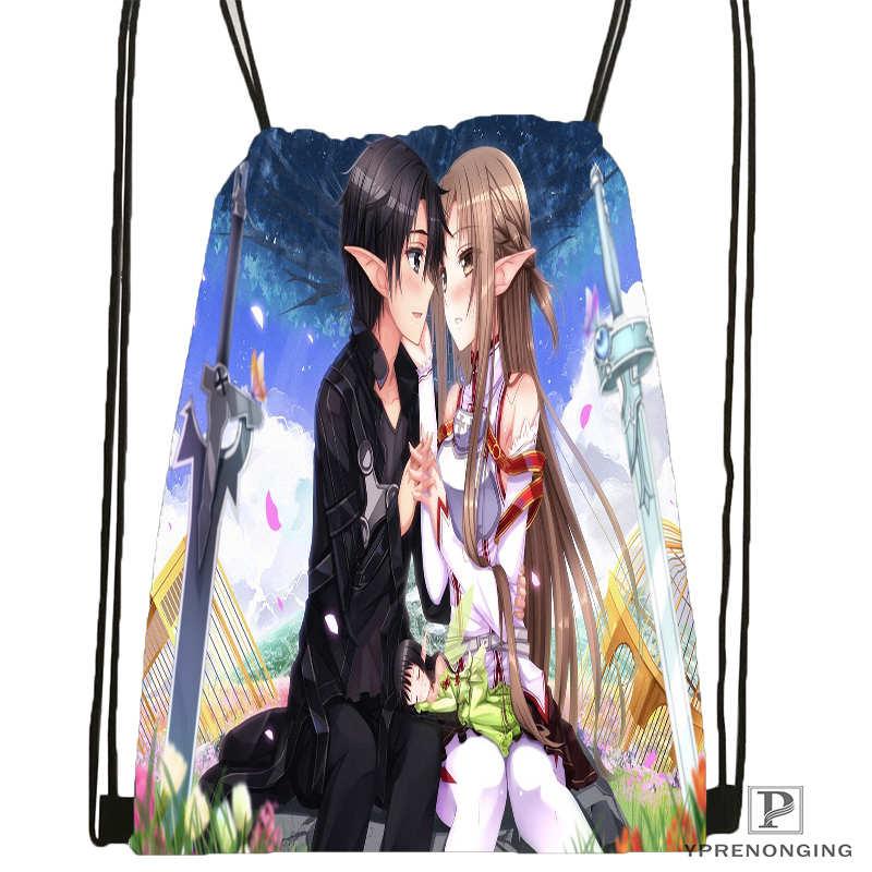 Custom kirito sword art 1Drawstring Backpack Bag for Man Woman Cute Daypack Kids Satchel Black Back