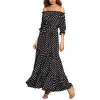 Для женщин летние пляжные длинные платья дамы Черный и белый горошек с плеча Половина рукава галстук талии линия Макси платье 2017