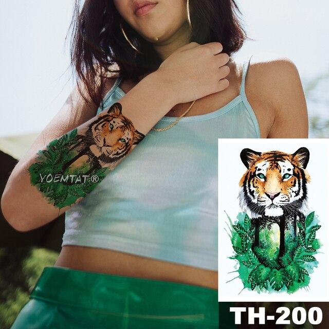 1 Sheet Animal Fake Tattoo Sticker Wolf Tiger Fox Cool Temporary Waterproof Body Art Tatoo Colored Draw For Women Men 4