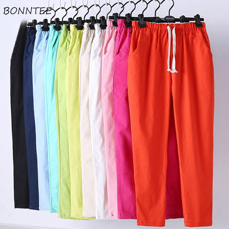Pants Women Large Size Various Colour Korean Style Summer Breathable Solid Elastic Waist Womens Fashion Pockets Leisure Ladies