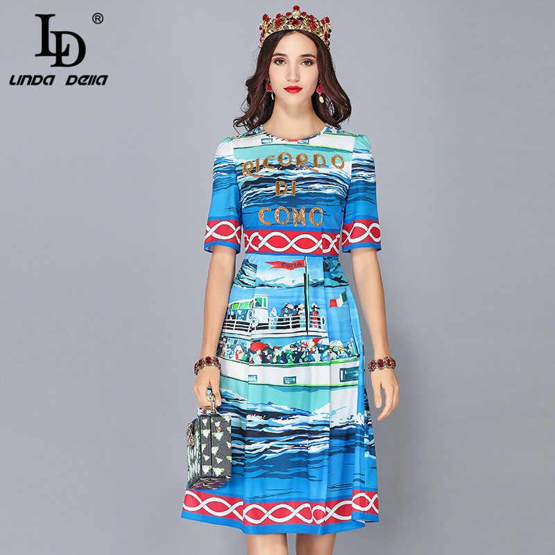 09d21b3058b LD Linda della 2019 дизайнер сезон  весна-лето платья для женщин женские  короткий рукав