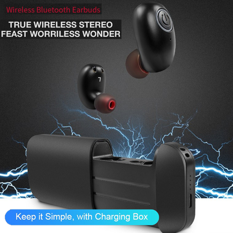 TWS B5 Mini Bluetooth Earphone Wireless Earbuds Stereo 2600mAh Power Bank for phone sport IPX5 waterproof with microphone 2018 new mini tws wireless bluetooth5 0 ipx5 waterproof and sweat proof sports earphone with led charger box for mobile phone