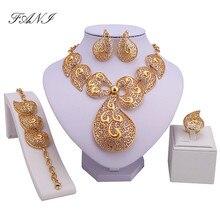 Exquisito Dubai Joyería de Oro de Lujo de Color Grande Nigeriano Boda Perlas Africanas Joyería Conjunto Traje conjunto de joyas de Diseño