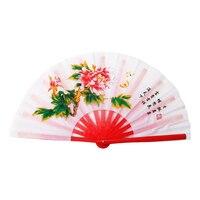 Tai chi fan voor Chinese kung fu vechtsport rode bamboe ribben witte fanning Hongdolph wushu groothandel
