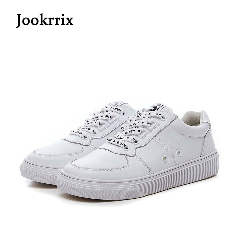 Jookrrix 2018 Spring New Fashion Brand Lady Casual White Shoes Women Shoe Black All Match Girl Leisure Sneaker Breathable Soft