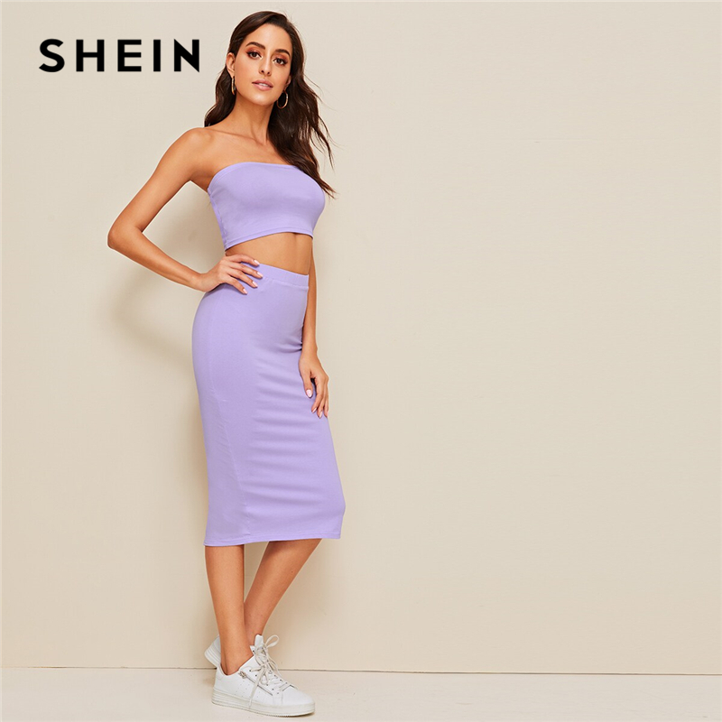 SHEIN Crop Bandeau Top And Split Pencil Skirt Set 2019 Purple Solid Strapless Sleeveless Sexy Summer Slim Fit Two Piece Set 2