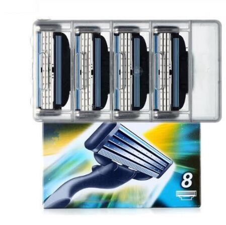 8 unidades/pacote Lâminas de Barbear de Segurança cuidados com o Rosto dos homens lâminas De Barbear Manual de barbear Cassete para gillettee mache 3
