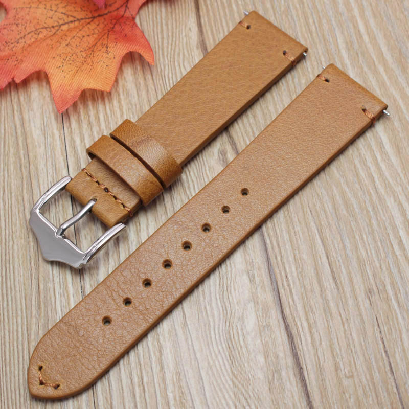 Handmade Watch Strap 18mm 20mm 22mm Men Women Replacemen Vintage Genuine Leather Watchband Silver Polished Buckle
