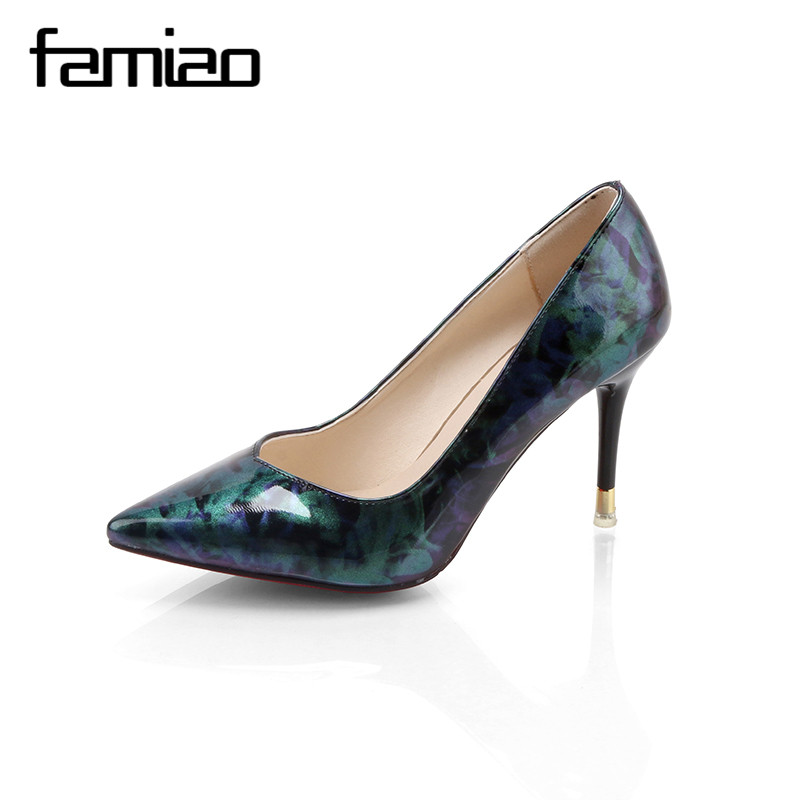 FAMIAO Women summer spring satin new thin high heels hot sale printing flowers classic high quality pointed toe women pumps wome new hot spring summer high quality fashion trend simple classic solid pleated flats casual pointed toe women office boat shoes