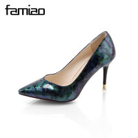 FAMIAO Women Summer Spring Satin New Thin High Heels Hot Sale Printing Flowers Classic High Quality