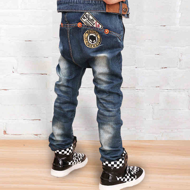 high-quality 2016 new Boys Jeans for autumn & Fall 2-14 Years Children's Denim Trousers Kids personalized letters jeans