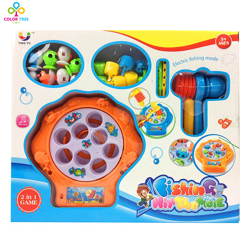Funny Fishing Game 2 in 1 Toys Whack Mole Hamster Attack Hit Mole Electronic Baby Kids Whack-a-Mole Mode Game