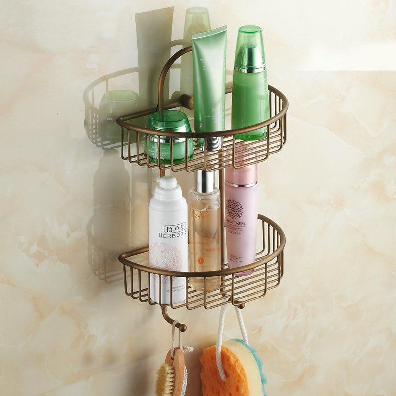 Antique Brass Bathroom Bathroom Accessories Shelf Double Layer Shelves Wall  Mounted Bathroom Basket  Kitchen Baskets. Bathroom Baskets Manufacturers   makitaserviciopanama com