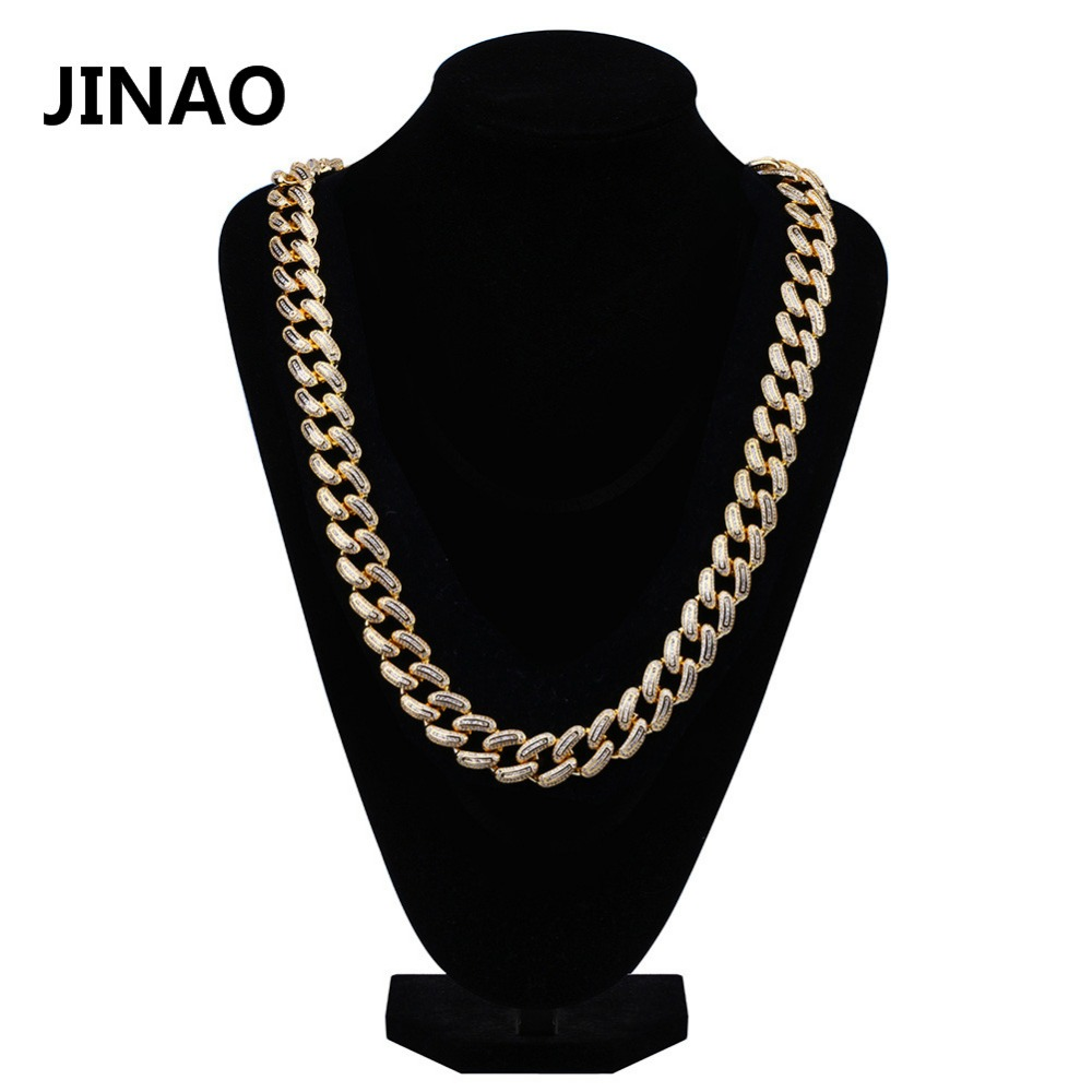JINAO Hip Hop Men Jewelry Miami Cuban Link Chain Necklace Iced Out CZ Stone Copper Gold