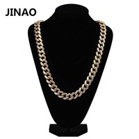 JINAO Hip Hop Men Jewelry Miami Cuban Link Chain Necklace Iced Out CZ Stone Copper Gold Color Plated Long Chains 18''20''