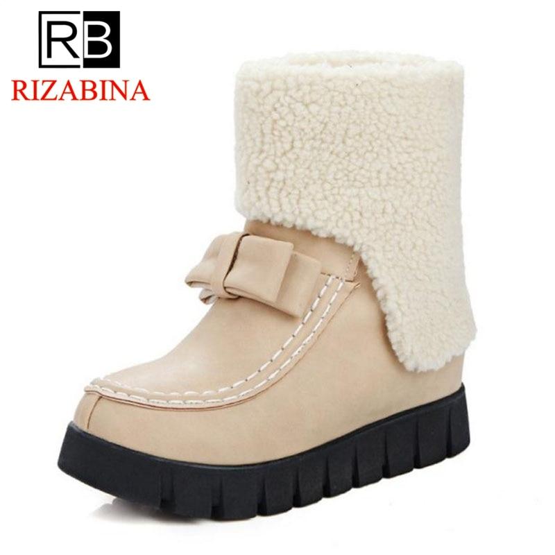 RizaBina hiver femmes en peluche fourrure neige bottes concis bout rond bottines hiver quotidien classique chaussures pour femmes taille 33-43