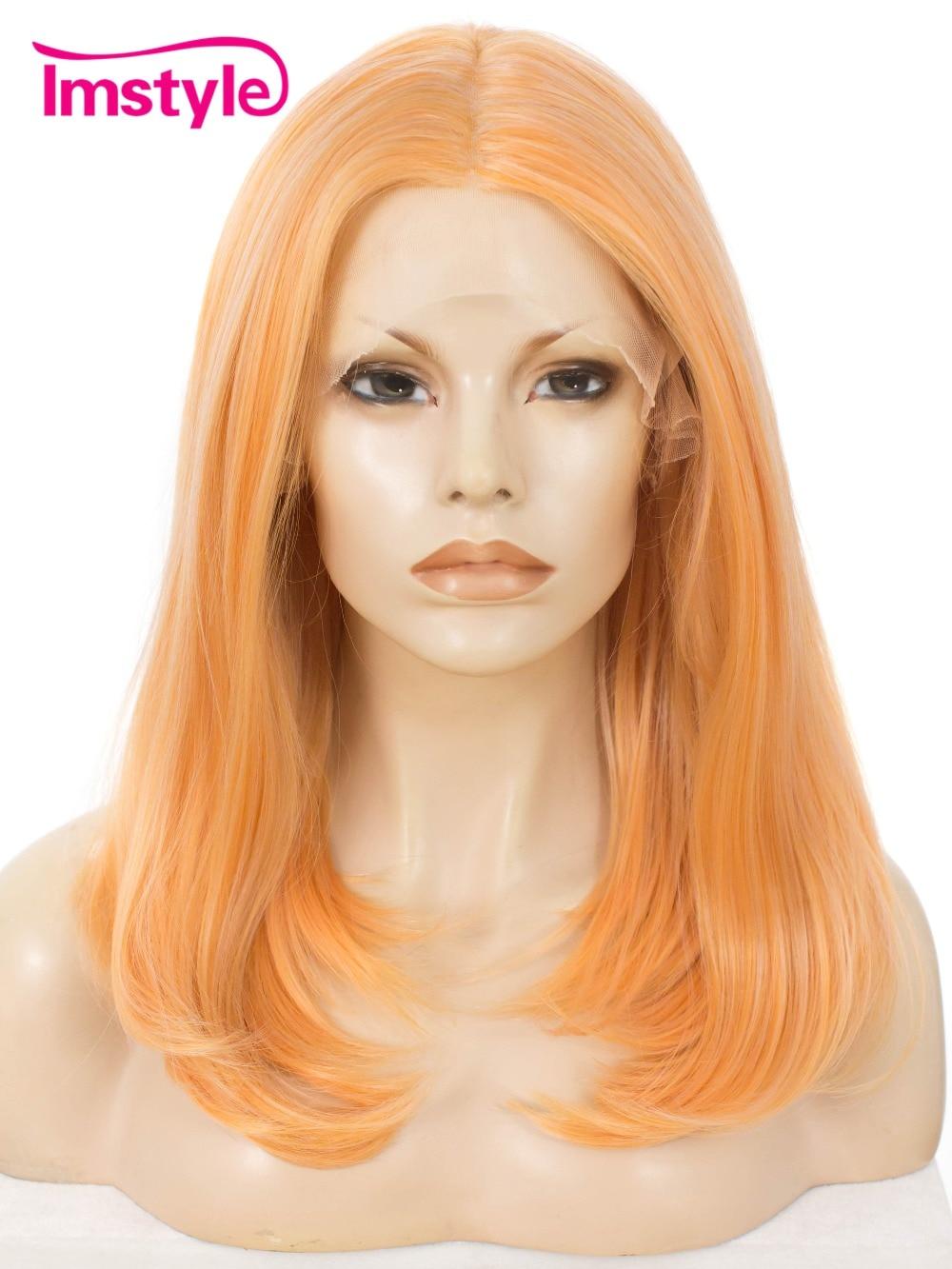 Imstyle синтетические парики спереди кружева для Для женщин Прямо средний Длина 18 дюймов Косплэй вечерние Оранжевый Цвет