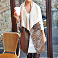 New Winter Women Lady casual Fashion Warm Faux Fur Collar Vest Long Leather Waistcoat Coat Outerwear Brown Cycle coat