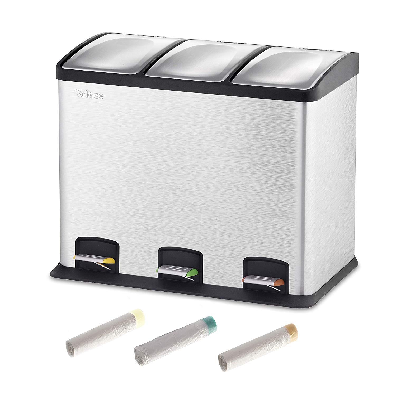 Velaze 36L pédale poubelle en acier inoxydable avec 60 rouleaux sacs poubelle carrée Premium poubelle domestique pour déchets de cuisine
