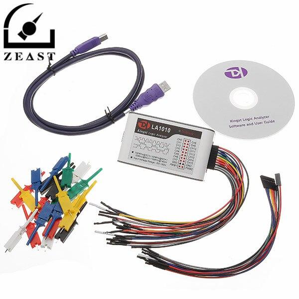 LA1010 USB Logic Analyzer 100M Max Sample Rate 16 Channel MCU/ARM/FPGA Debug Tool Oscilloscopes usb logic analyzer scm 24mhz 8 channel 24m seconds logic analyzers debugger for arm fpga usb cable dupont cable