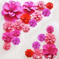 22pcs Set Large Simulation Foam Flower Stereo Hand Finished Rose Windows Display Wedding Deco