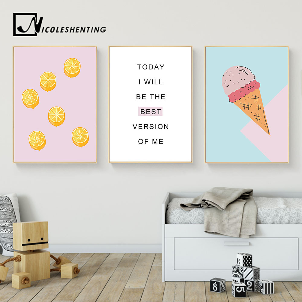 Cartoon Food Ice Cream Motivational Wall Art Canvas Posters Prints Painting Nursery Picture Kids
