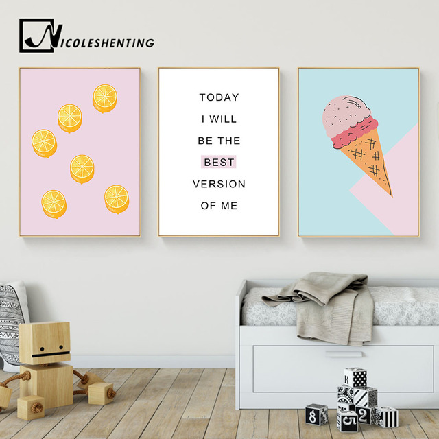 Cartoon Food Ice Cream Motivational Wall Art Canvas Posters Prints Painting  Nursery Picture Kids Bedroom Decoration