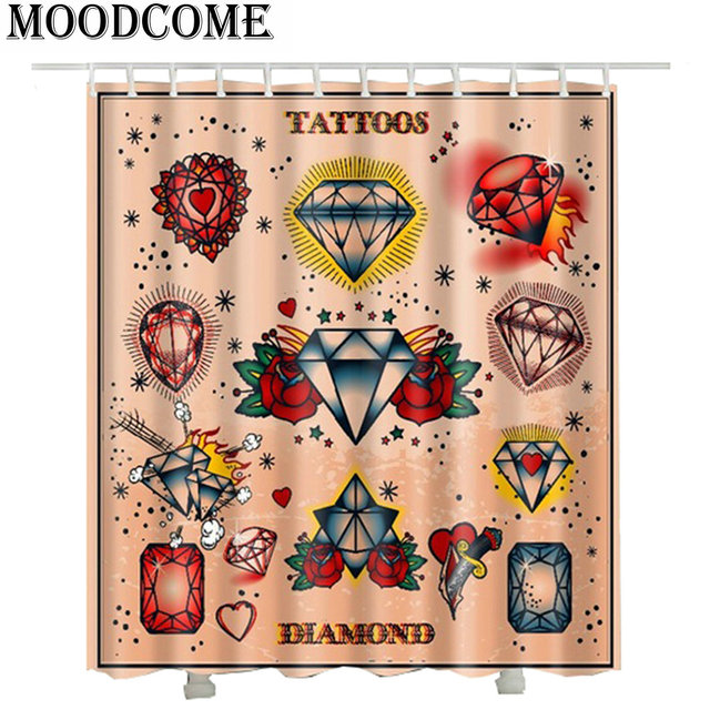US $17 54 35% OFF 3D Diamond Printed Shower Curtains New 2017 France Tattoo  Styles Luxury Hotel Bathroom Curtains -in Shower Curtains from Home &